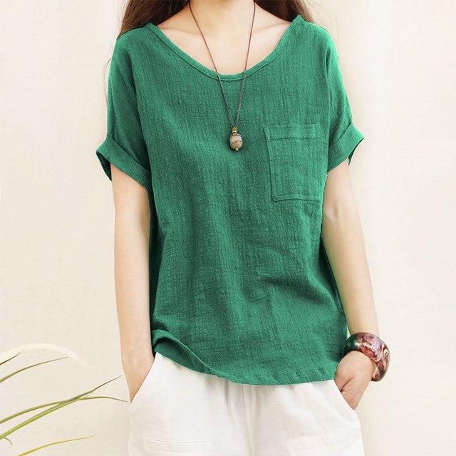2018 Plus Size ZANZEA Women Crew Neck Short Sleeve Pockets Blouse Summer Fashion