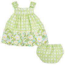 Mayoral Baby Girls 3M-24M Green Bow Shoulder Check Plaid Border Print Dress image 2