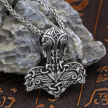 Norse Viking silver Jewelry Odyssey Hammer of Thor Mjolnir Pendant necklace - $18.81