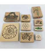 Wooden Rubber Stamp Lot of 9 -Flowers Birdhouses Lilly Pad Clover- vario... - $14.01