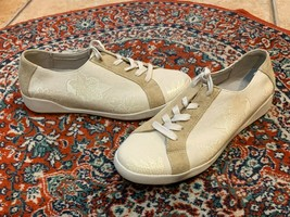 Dansko Ivory OFF-WHITE Floral 41 10.5 11 M Sneakers Canvas Suede White Sole Euc - $40.00