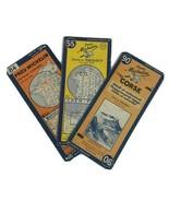 Lot Of 3 Vintage Michelin France Fold Out Road Maps Cartes Pneus 55 84 9... - $28.01