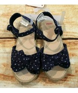 Gymboree 10 Blue Star Sandals Espadrilles Red White & Cute Toddler Girl NWT - $14.01