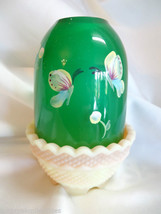 Fenton Art Glass Butterflies Emerald Green Burmese Base Fairy Light Lamp... - $54.00