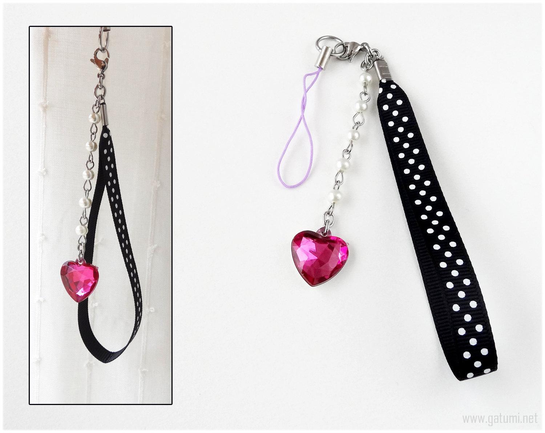 Polka Dot Phone Strap with Pink Heart Charm, Beaded Pearl Chain, Gyaru, Sweet Lo