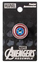 Marvel Comics Captain America Shield Logo Colored Metal Pewter Lapel Pin UNUSED - $7.84