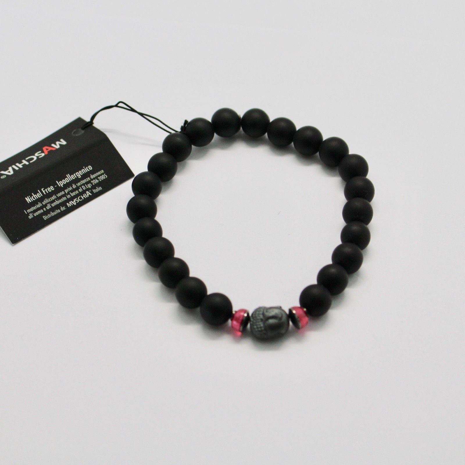 BRACCIALE IN ARGENTO 925 CON EMATITE E ONICE BPR-4 MADE IN ITALY BY MASCHIA image 2