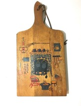VTG WOODEN COUNTRY KITCHEN BREAD CUTTING BOARD WOOD WALL HANGING LEATHER... - $23.89 CAD