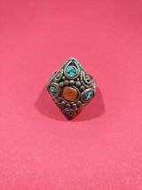 Handmade vintage natural coral fine turquoise gem antique German silver ... - $97.00