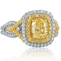 1.72 TCW Cushion Cut Yellow Diamond Engagement Ring 18k White Gold - $3,662.01