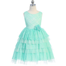 Mint Sleeveless Tiered Layers Full Lace and Tulle with Waist Flower Girl... - $44.00