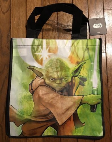 NEW STAR WARS YODA LIGHTSABER REUSABLE TRICK OR TREAT TOTE BAG GROCERY