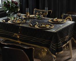 Luxury Designer Tablecloth Retro Black & Gold - $88.00