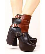 Miista Batilda 41 Two-Tone Brown Leather Buckle Boot Chunky Heel Moto 90... - $321.75