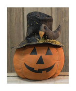 Cinnamon scented Pumpkin Head w/black crow Halloween Tabletop Home Offic... - $47.47