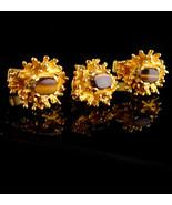 Golden nugget TIGER EYE Cufflinks - Vintage Gemstone Cuff Accessory - ti... - $125.00