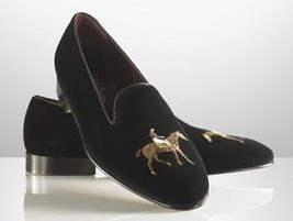 Handmade Men Black Velvet Party Loafer Shoes,men's velvet dress shoes for men,ca - $159.99