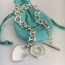 "Extra Large 10.5"" Tiffany & Co Silver Blank Heart Tag Charm Toggle Bracelet - $299.00"