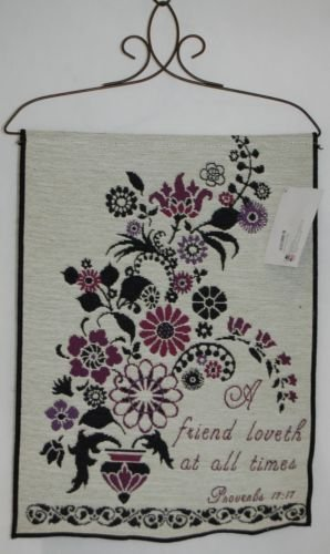 "Manual Woodworkers Tapestry "" A friend loveth at all times Proverbs 17:17"" 23""x1"