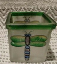 Dragonfly Votive Candle Holder Glass Unmarked Gorgeous Unique Green Spri... - $9.67