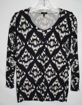 Talbots Petites MEDIUM Cardigan Sweater Black Beige Tan Button Front Thin Cotton - $15.40