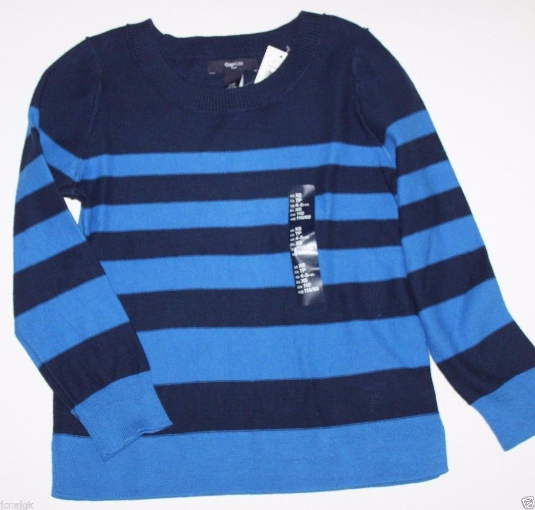 Gap Kids NWT Boy's XS 4 5 100% Cotton Navy Blue & Blue Striped Sweater