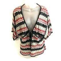Dressbarn Womens Open Front Sweater Top Large Chevron Pattern Sparkles - $11.87