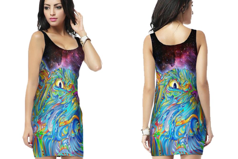 Dmt spirit molecule psychedelic cat trip bodycon dress