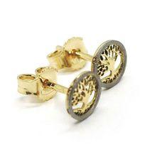 18K YELLOW & WHITE GOLD, MINI 7 MM, ROUND EARRINGS BEAUTIFUL TREE OF LIFE image 3