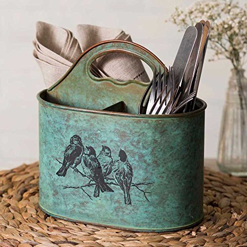 Vintage Style Birds Decorative Metal Caddy