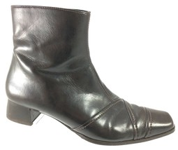 SH6 Paul Green Munchen UK 5.5 US 8 Brown Leather Zip Ankle Boot Block Heel - $39.59