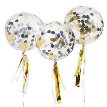 Giant Confetti Balloon Gold, Black and White | Giant Clear Balloon | Giant Black for sale  USA