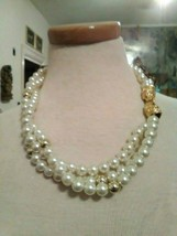 VINTAGE NECKLACE 3 ROW FAUX PEARL W/ GOLDEN BEADS & LIONSHEAD CLASP - $40.00