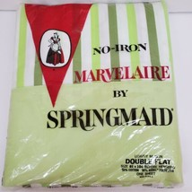 Springmaid Marvelaire Green Striped Vintage Sheet Double/Full Flat Sheet... - $26.99