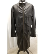 Vintage Versace Jeans Couture Black Leather Overcoat - $490.00