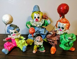 4 (FOUR)- Adorable Vintage Paper Mache Clown Figurine With Balloons - $34.65