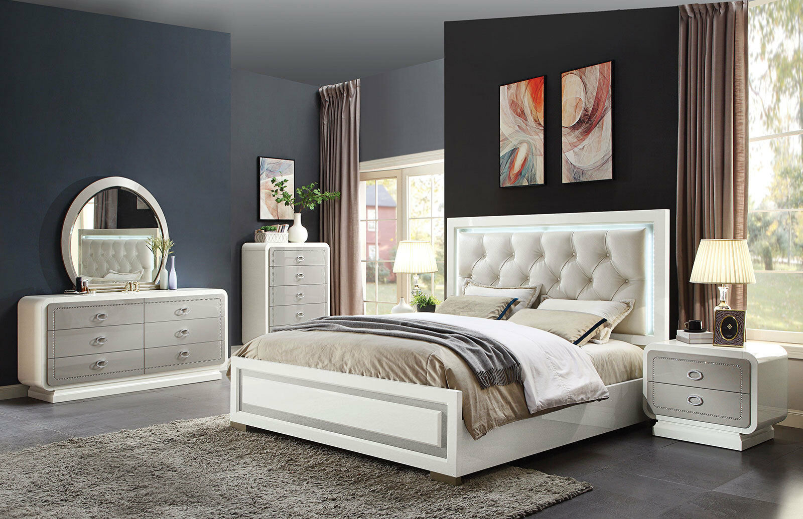 New Glossy Off White Bedroom Furniture Grayson 5pc Queen