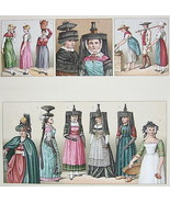 COSTUME French Women 1880s Headdress - SUPERB Color Antiqe Print by A. R... - $31.49