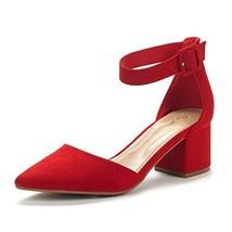 DREAM PAIRS Women's Annee Red Suede Low Heel Pump Shoes - 5 M US - $27.46