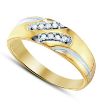 14k Yellow Gold Plated 925 Sterling Pure Silver Mens Anniversary Diamond... - $84.99