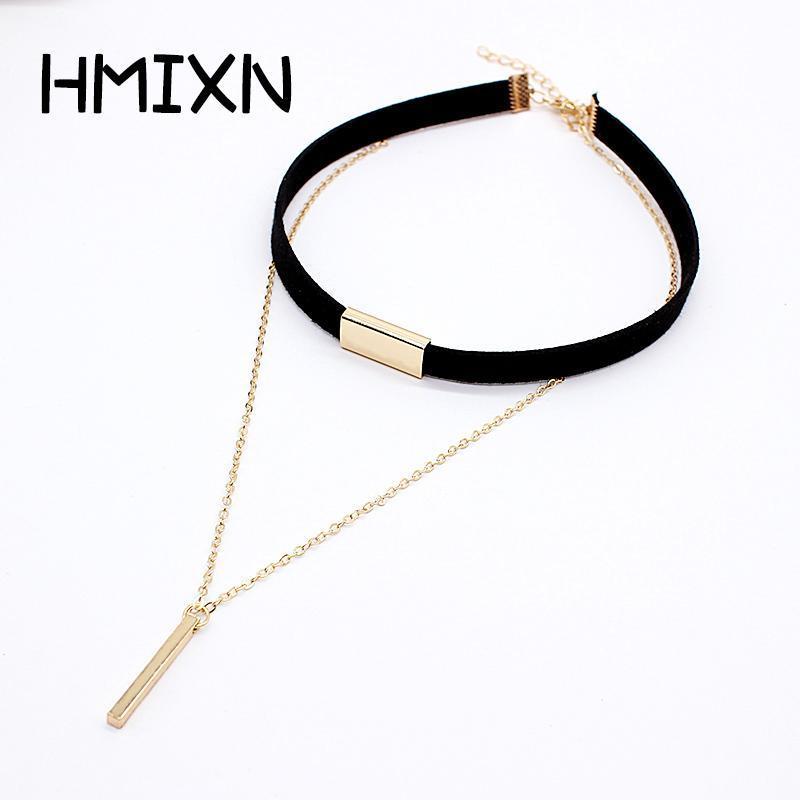 HMIXN Black Velvet Ladies Choker Necklace with Chain & Pendant