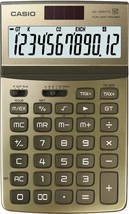 CASIO JW-200TW-GD 12-Digit Calculator GT Dual Power JW200TW Gold - $28.99