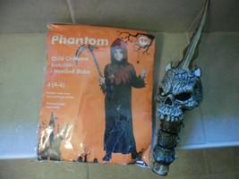 Black Phantom Youth Size 4-6 hooded robe Costume NWT + added skull sword - $9.19