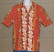 Royal Creations Hawaiian Shirt Orange Gold Floral Stripes Size Large - $17.95
