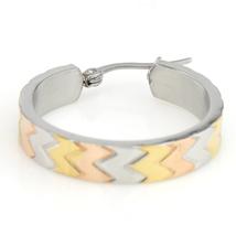 Chevron Design Tri-Color Silver, Gold & Rose Tone Hoop Earrings- United Elegance image 2