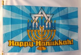 HAPPY HANUKKAH 3X5' FLAG BANNER NEW FESTIVAL OF LIGHTS JEWISH HOLIDAY - $9.85