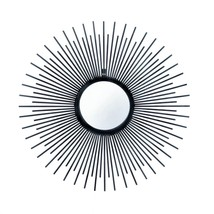 Round Wall Mirror Black, Modern Iron Sunrays Unique Wall Mirrors Bathroom - $63.35