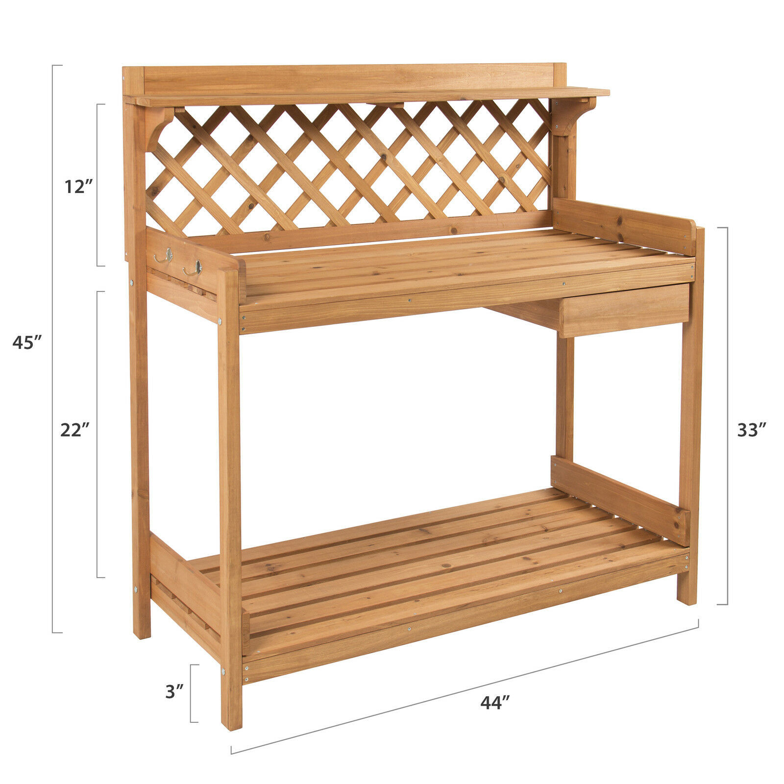 Potting Bench Table Outdoor Garden Patio Work Bench Station Planting Solid Wood