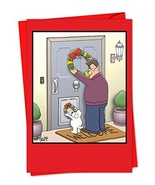 36 'Dog Wreath' Christmas Cards with Envelopes 4.63 x 6.75 inch, Man and... - $24.24