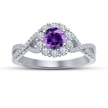 Infinity Style Engagement Ring Purple Amethyst 14k White Gold Plated 925... - $74.21